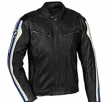 Kaohide - Chaqueta de cuero para moto con logotipo de BMW, color negro: Amazon.es: Coche y moto