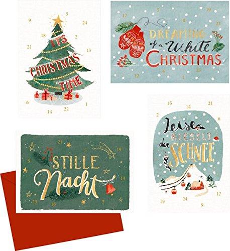 Mini-Adventskalender-Sortiment - Weihnachtliches Handlettering: 4 Motive x 6 Ex.