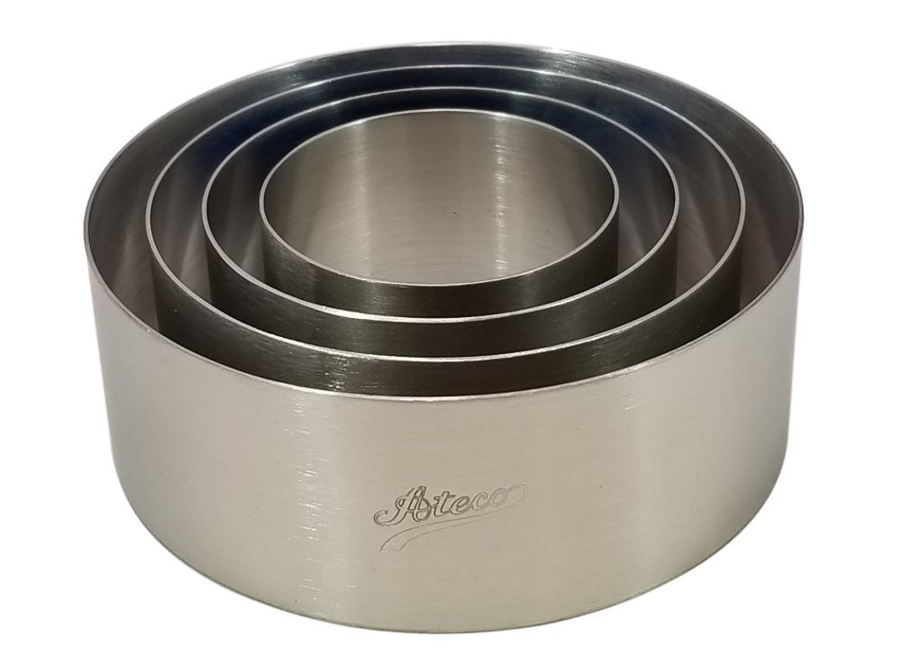 Round Food Cake Ring Mold, Ateco Seamless Stainless Steel for Cooking, Baking, Molding Appetizers, Salads, Cakes and Desserts and Food Stacking