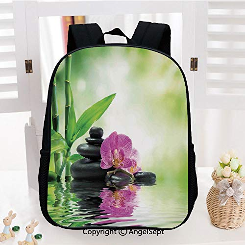 - Casual Style Lightweight Backpack Orchids and Rocks in the Mineral Rich Spring Water Spiritual Deep Treatment Cure Image School Bag Travel Daypack,Green Black Pink