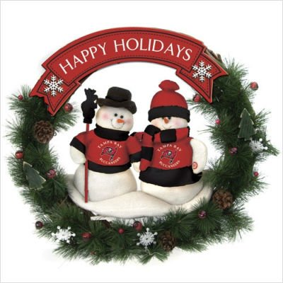 SC Sports Tampa Bay Buccaneers Team Snowman Wreath - Tampa Bay Bucanneers One Size ()
