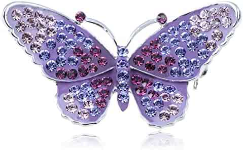 6372ac1f2 Alilang Womens Silvery Tone Multicolored Rhinestone Butterfly Insect Brooch  Pin