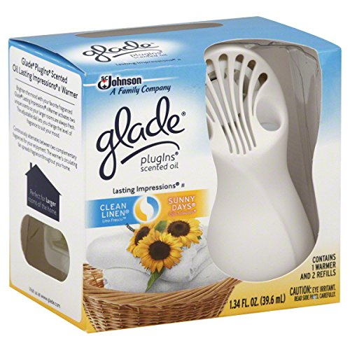 Glade Plugins Scented Oil Starter Kit - Lasting Impressions - Warmer With Fan & 2 Oil Refills - One Starter Kit