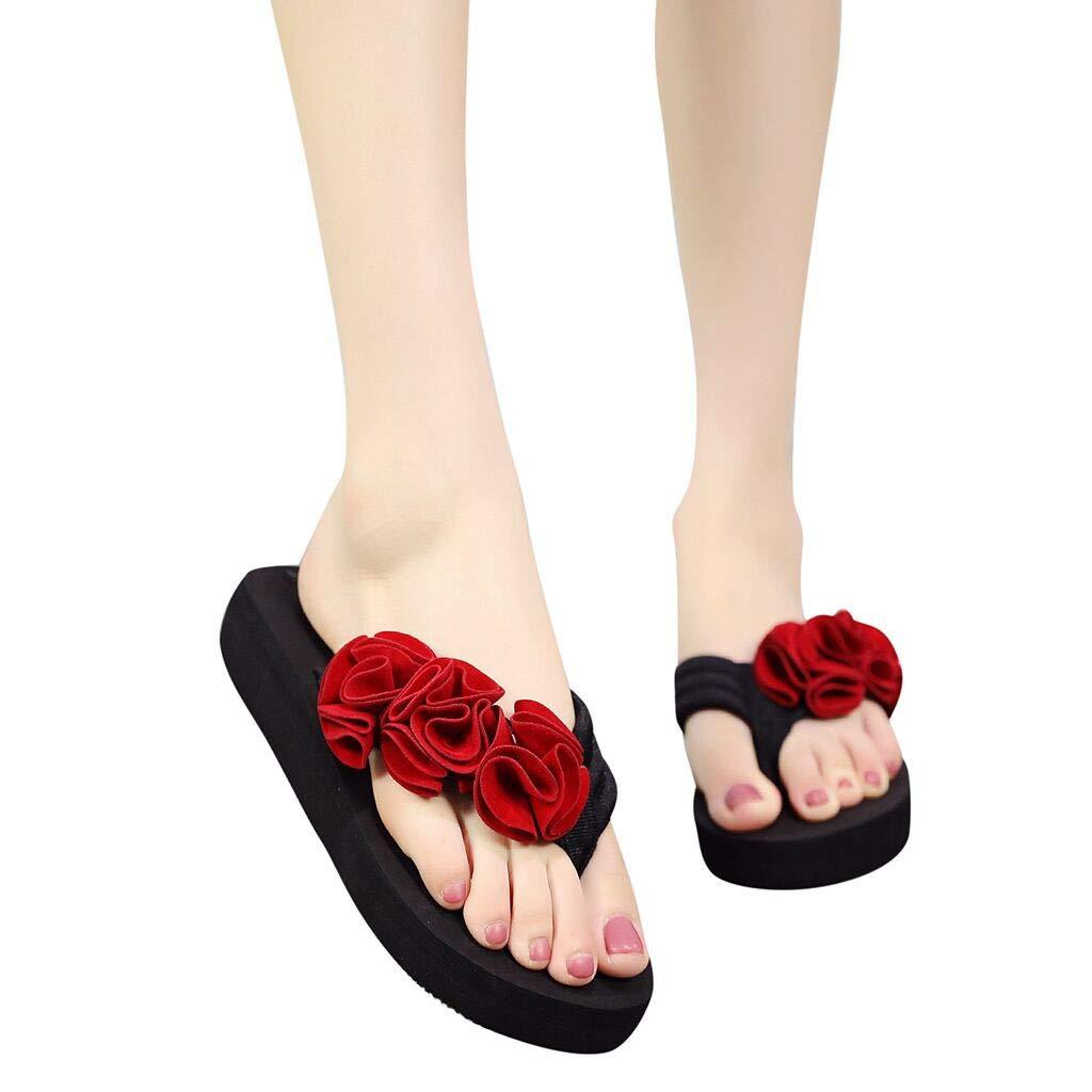 Frunalte Women Casual Shoes Summer Fashion Women's Flower Clip Toe Flip Flops Non-Slip Wedges Beach Slippers Red by Frunalte shoes (Image #1)