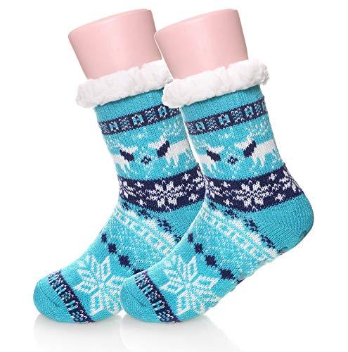 Kids Boys Girls Fuzzy Slipper Socks Soft Warm Thick Fleece lined Christmas Stockings For Child Toddler Winter Home Socks (Blue, 5-8 ()