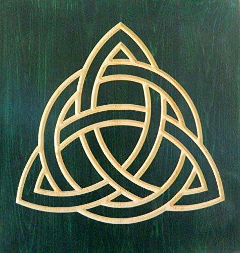 Celtic trinity knot wood carving, Triquetra artwork