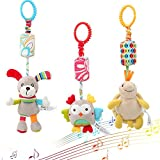 Daisy 3 Packs Infant Hanging Rattle, Soft Baby Wind Chimes handbell Toy, Stroller