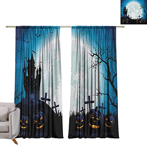 berrly Blackout Curtain Panels Halloween,Spooky Concept with Scary Icons Old Celtic Harvest Figures in Dark Image Holiday Print, Blue W96 x L108 Art Grommet Window Drapes]()
