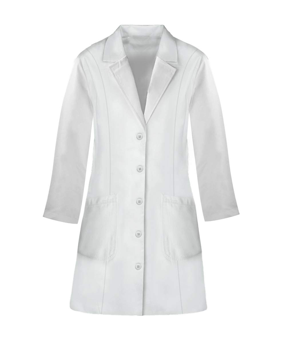 Panda Uniform Custom Colored Lab Coat for Women 36 Inch length-White-XL