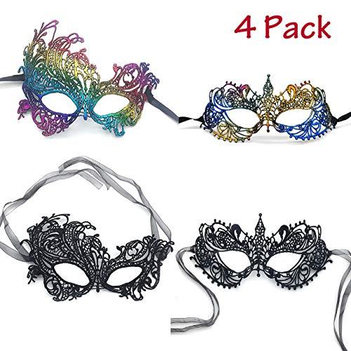 iMapo Masquerade Masks 4 Pack, Mardi Gras Lace Mask for Women Lady Girls, Halloween Christmas Cosplay Venetian Party Prom Ball Eye Masks - Black & Rainbow]()