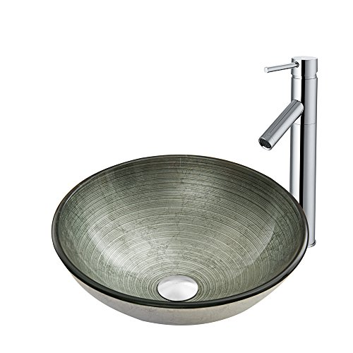 VIGO Simply Silver Glass Vessel Bathroom Sink and Dior Vessel Faucet with Pop Up, -