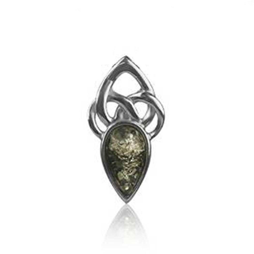Anhänger Sterling-Silber 925 Bernstein keltisch Grün Noda 24261