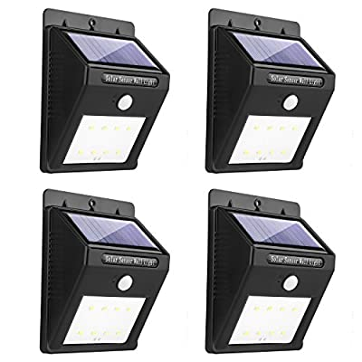 Miserwe Solar Led Lights 4 Pack Solar Motion Light 8 LED Motion Sensor Led Solar Lights outdoor Waterproof Wireless Solar Powered Motion Light for Step Garden Yard Path