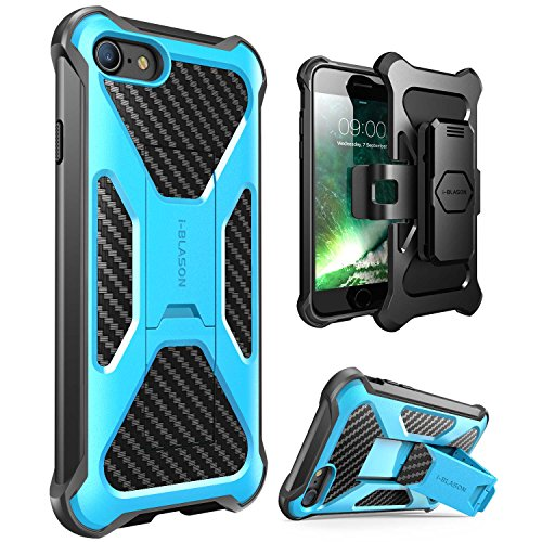 - iPhone 7 Case, i-Blason Transformer [Kickstand] Apple iPhone 7 2017 Release [Heavy Duty] [Dual Layer] Combo Holster Cover case with [Locking Belt Swivel Clip] (Blue)