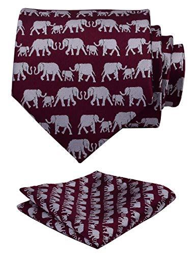 (GUSLESON New Design Marron Men Tie Elephant Pattern Wedding Necktie and Pocket Square Set (0779-18))
