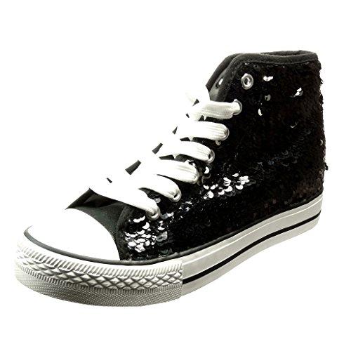 Angkorly - damen Schuhe Sneaker - glitzer - glänzende flache Ferse 2.5 CM - Schwarz