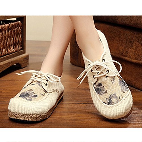 Womens Loafers Flat Country Style Lace Up Comfort Walking Shoes Gray SAJrXG