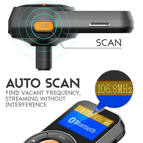 RONXS Bluetooth FM Transmitter for Car Wireless Radio Adapter W QC3.0/2.4A Dual USB Quick Charge, Auto Scan, Power On/Off, Replaceable Fuse, Handsfree Calling, Support SD/TF Card, AUX Out - Orange by RONXS (Image #1)