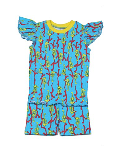 New Jammies Girls Girls' 2Pc Seahorses T-Shirt & Short Lounge Set, 2T, Blue (Horse New Blue Shirt)