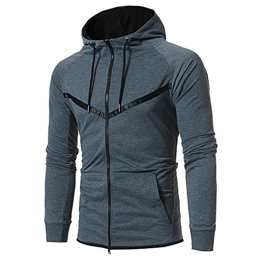 GOVOW Outwear for Men Winter Long Sleeve Patchwork Hoodie Hooded Sweatshirt Tops Jacket Coat Gray