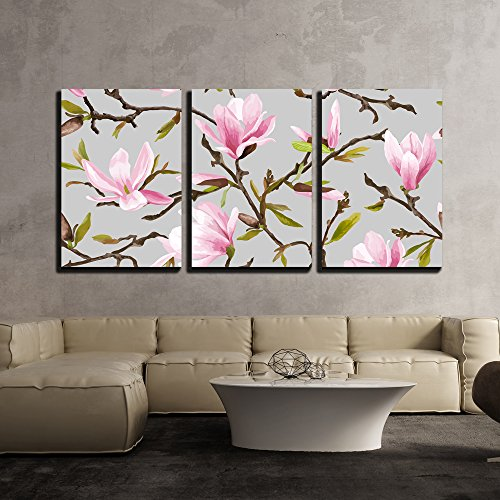 wall26 - 3 Piece Canvas Wall Art - Vector - Seamless Floral Pattern. Magnolia Flowers and Leaves Background. Exotic Flower - Modern Home Decor Stretched and Framed Ready to Hang (Magnolia Wall)