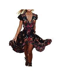 Geen-Coller Women Girls Summer Chiffon Bohemian Dress for Beach Seaside Sunbath