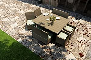 Forever Patio Hampton 7piezas Juego de comedor Patio cuadrado moderno con turquesa Sunbrella cojines (SKU fp-ham-7sqdn-ht-sp)