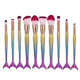 Sunfei Fish Scale Brush Fishtail Bottom Brush Powder Blush Makeup Cosmetic Brush Kit (10PCS)