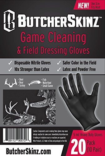 - ButcherSkinz Field Dressing and Game Processing Heavy Duty Nitrile Gloves, One Size, Black (Pack of 20)