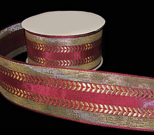(Ribbon Art Craft Decoration 3 Yards Burgundy Wine Red Metallic Gold Florentine Ribbon 1 1/2