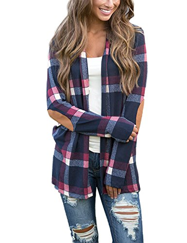 Long Sleeve Plaid Coat - Minipeach Women's Casual Plaid Print Long Sleeve Elbow Patch Draped Open Front Cardigan Sweater Coverup Coat Tops Outwear,X-Large,Blue