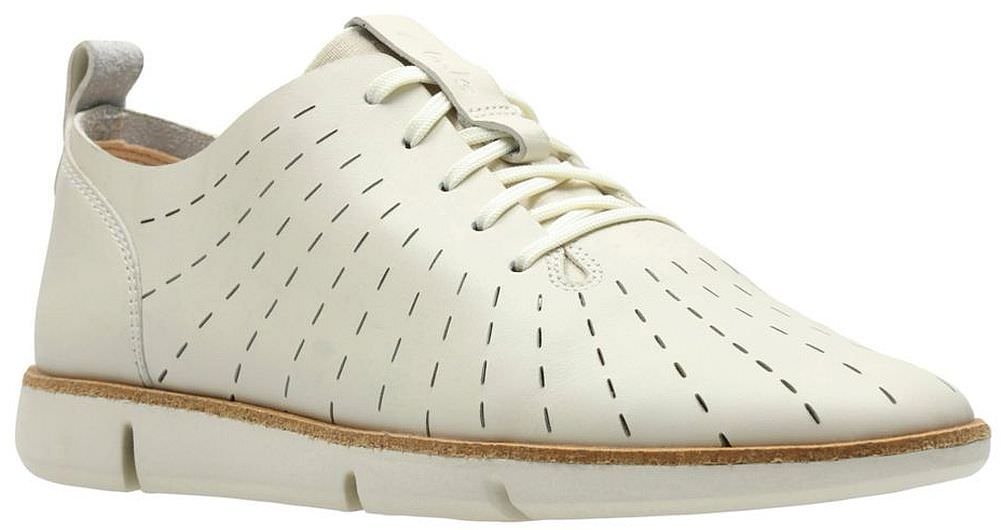 CLARKS Womens Tri Etch Sneaker, White Leather, Size 7 by CLARKS (Image #1)