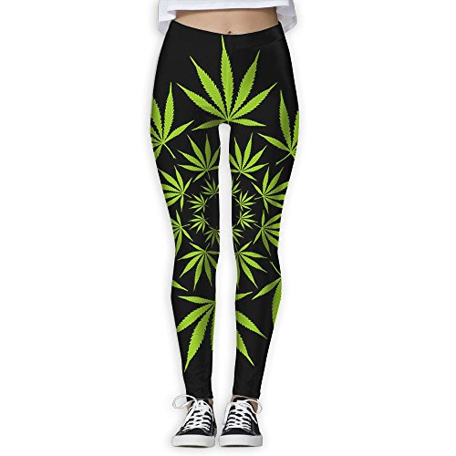 Cannabis Leaf Circle Digital Art Women's Full-Length Yoga Workout Leggings Pants Workout 3D Printed Straight Leg Yoga Pants Sports