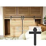 7ft Double Door Cabinet Barn Door Hardware Kit- Mini Sliding Door Hardware - for Cabinet TV Stand - Simple and Easy to Install - Fit 21'' Wide Door Panel (No Cabinet) (Mini J Longer Shape Hangers)