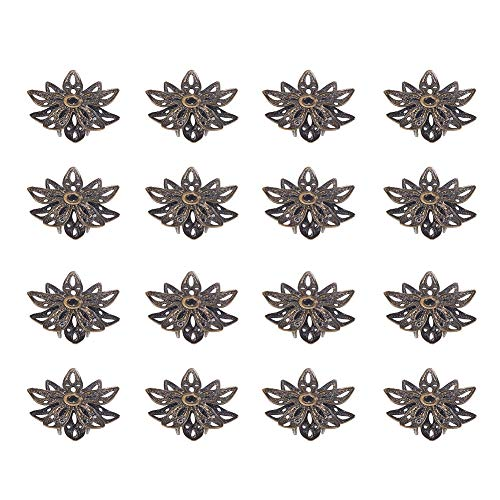 Brass Bead Caps - PH PandaHall Multi-Petal Brass Flower Shape Bead Caps Antique Bronze 16x8mm about 20pcs