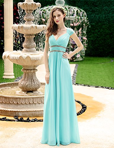 Verde escote 40 Pretty Ever de de mujer elegante Vestido agua largo 08697 noche con para para pico BxUCC4q6w