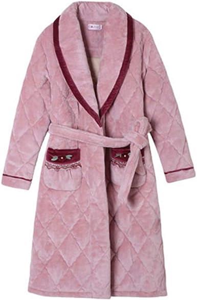 Bata Mujer Pijamas Invierno Algodón Franela Camisón Largo Albornoz: Amazon.es: Ropa y accesorios