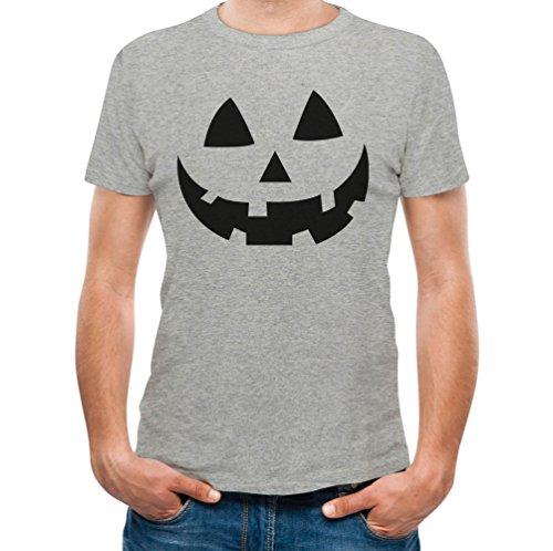 Jack O' Lantern - Smiling Pumpkin Face - Easy Halloween Costume Fun T-Shirt Small Gray