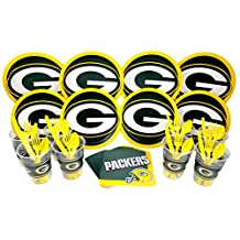 NFL Green Bay Packers Plate, Napkin, Cup, Fork, Spoon, Knife Party Set for 8