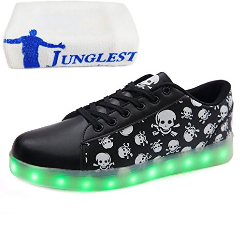 (Present:small towel)JUNGLEST® High Quality LED Sneakers USB Charging LED Lighted Luminous Couple Casual Sport Shoes for Unisex Men Women 7 color USB rechargeable LED l Black