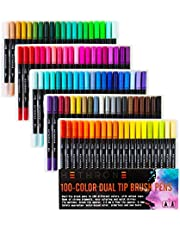 Hethrone 100-Color Dual Tip Brush Pens with Fine-liner Tip 0.4 PA37
