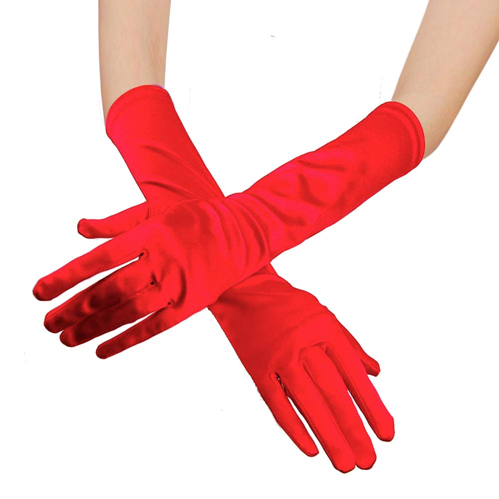 Long Opera Party Satin Gloves Stretchy Evening Opera Satin Gloves for Women Elbow Length 1920s