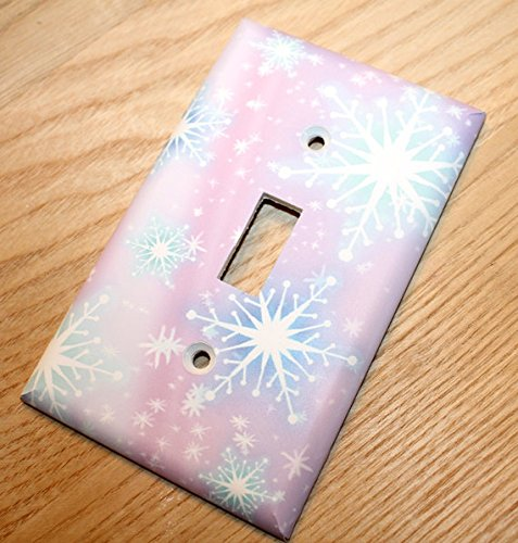 Snowflake Pink and Aqua Girls Bedroom Light Switch Cover LS0057 (Single Decora) Toad and Lily LS0057b