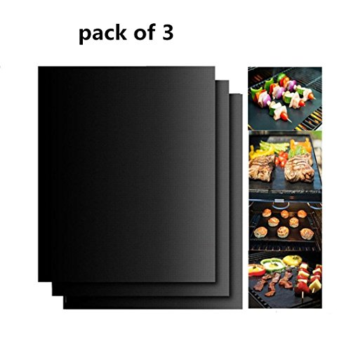 SuperLi Grill Mat Non-stick BBQ Grill & Baking Mats- 13 X 15.75 Inches (black) by SuperLi