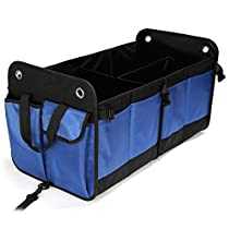Car Trunk Organizer, Storage Box For SUV with Extra Pockets, Collapsible and Waterproof, backseat organizer with Sturdy PVC Material for Truck, Vehicle, Truck, Auto