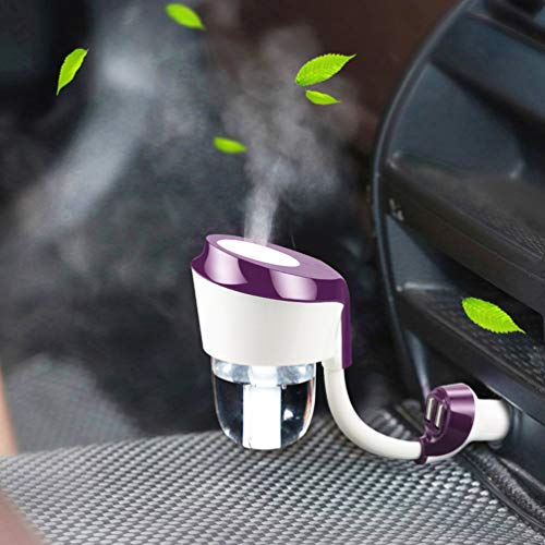 Vyaime Car Diffuser Essential Oil Aromatherapy Diffusers with Dual USB Charger Adapter, Ultrasonic Humidifier Air Refresher Purifier for Vehicle Automobile(Purple)