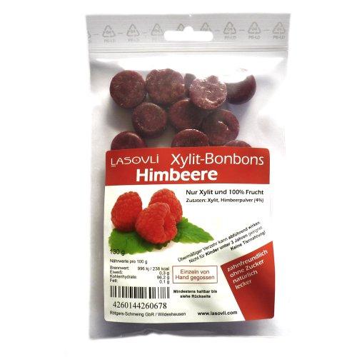 Himbeer-Bonbons (Xylit Bonbons) ohne Zucker, nur mit Xylit gesüßt, 100% Fruchtpulver, 130 g
