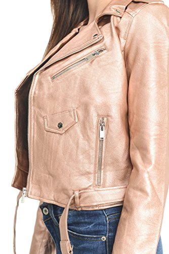 Gold Womens Jacket (Instar Mode InstarMode Women's Ultimate Faux Leather Moto Biker Short Coat Jacket (JK50713 Rose Gold, Medium))