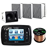 Infinity PRV350 Marine 3.5'' LCD Bluetooth Stereo Receiver Bundle Combo With 4x Kicker 11KB6000W 6.5'' Inch White Full Range Box Bookshelf Tower Enclosure Speakers + Enrock 50 Foot 16g Speaker Wire