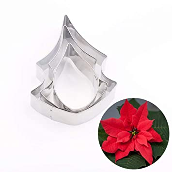 display08 - Molde para Galletas con Forma de Flor de pétalos de Navidad (3 Unidades): Amazon.es: Hogar